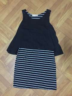 Black stripe minindress