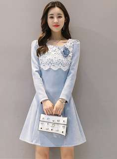 Formal: Azure Autumn Lace Splicing Floral Brooch Suede Dress (S / M / L / XL) - OA/DZD091911