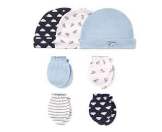 Brand New Hudson Baby Cap and Mittens Set For Baby Boy