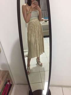 GOLD LONG SILK SKIRT