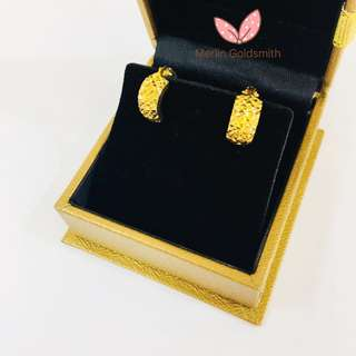 916 Gold Diamond Cut Clip Earring / Mother's Day Promotion 🎀 母亲节大优惠 🎀  Limited Promotion for 5 Pairs only!  母亲节优惠活动 - 限5对 【 Promotion Price ✔️SGD 128 nett 】