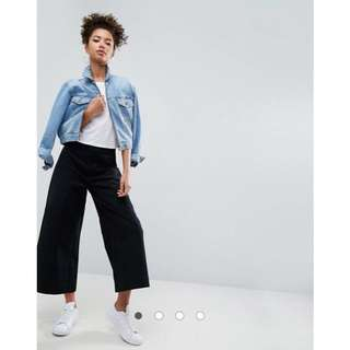 ASOS TIONNE Casual Wide Leg Trousers with High Waist in Black with Utility Pockets