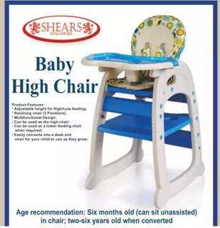 Shears Baby High Chair Infant High Feeding Seat 3in1 Toddler Table Chair