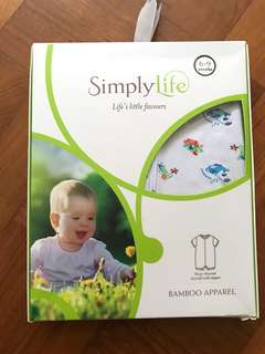 Brand New Simply Life Under the Sea Bamboo Short Sleeve Shortall Romper Onesie Bodysuit with zipper [mothercare, Seed, rlly, le petit society, organic baby, baby Sensitive skin wear]