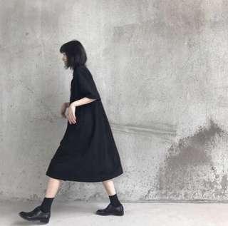 IOZ。簡約寬鬆暗黑短袖長襯衣裙 #女裝半價