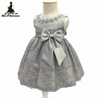 *FREE DELIVERY to WM only / Ready stock* Kids 3mth princess dress as shown design/color grey. Free delivery is applied for this item.