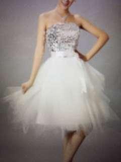 全新blingbling閃白晚裝短紗裙