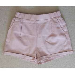Valleygirl Pastel Pink Stretchy A Line Tailored Shorts with Pockets