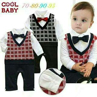 *FREE DELIVERY to WM only / Ready stock* Kids 6-24mth boy rompers gentlemen suit each as shown design/color. Free delivery is applied for this item.