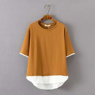 (2XL~5XL) 2018 loose long section fake two piece short-sleeved T-shirt
