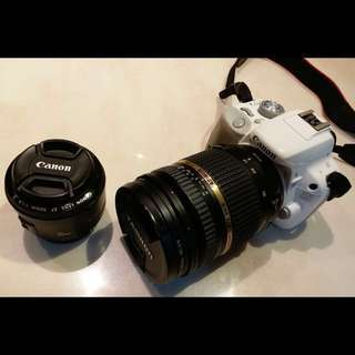 Canon 100D with Tamron 17-50mm f2.8 and Canon 50mm f1.8 lens