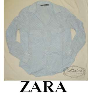 Zara basic powder blue long sleeve top