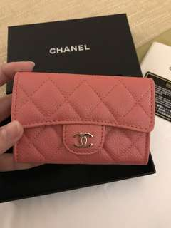 *Rare Beauty!*BNIB Chanel Summer 18 Pink Caviar Ghw Card Holder Case #25