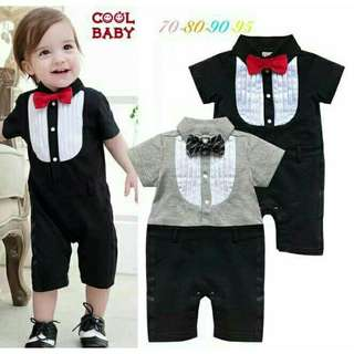 *FREE DELIVERY to WM only / Ready stock* Kids 0-24m boy gentleman romper each as shown design/color. Free delivery is applied for this item.