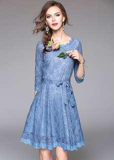 Formal: Lovely Round Neck Tying Waist Lace A-Line Dress (M / L / XL / 2XL) - OA/YZD090710