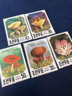 朝鮮郵票 1991 蘑菇 5全