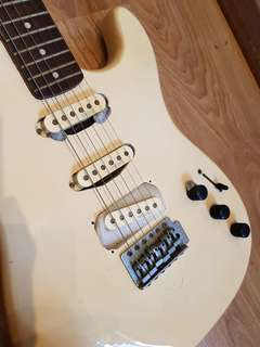 """Old beat up electric guitar modded with Kinman blues pickups - """"Maison"""" brand circa 1990s"""