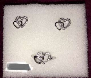 Authentic Jewelry Heart Set - Earrings and Ring