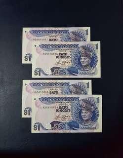 🇲🇾 Malaysia 5th Series RM1 Banknote~2 Set Consecutive Pair(A Lot 4pcs)