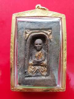 LP Thuat - 2497 matchbox pim (framed in real Thai gold)