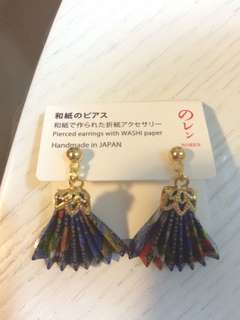 Pierced earrings with Washi Paper