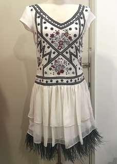 #swap - Chanel Beaded & Feather Hem Swing Dress