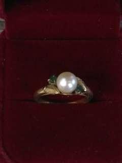古董K金珍珠戒指