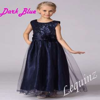 Wedding Dress Navy Blue Long Gown Bridemaids Flower Girls Dress