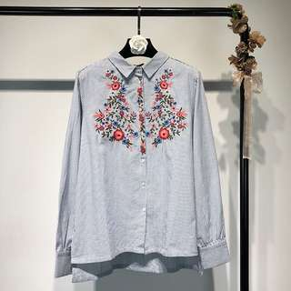 2018 Spring Stripe Embroidered Flowers Long Sleeve Irregular Shirt