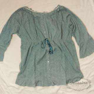 Blue shirred 2-way off shoulder blouse