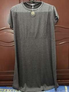 Dress Hamil/Menyusui Warna Abu Bukaan Samping Kanan-Kiri