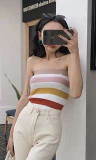 Rainbow knitted tube top
