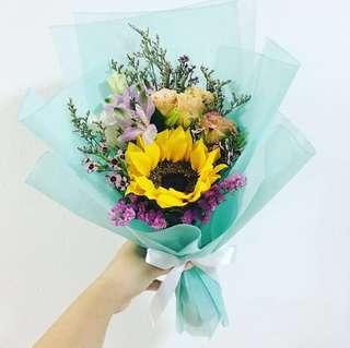 Graduation Flower Bouquet in Sunflower and Mix Flowers