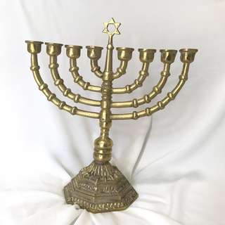 Menorah Hanukkah David Holder Stand Antique Brass menorah.
