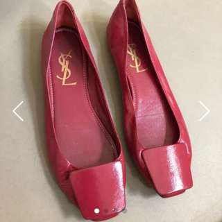 YSL Real Leather Red Flat Shoes