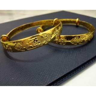 Chinese Style Bridal Gold Bangle (Ready Stock)