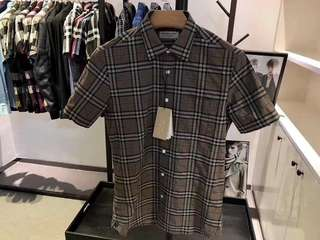 Burberry 男士短袖格紋棉質襯衫,S-XXL碼,五色