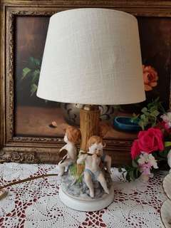 antique Dresden hand painted porcelain table lamp.