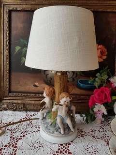 antique Dresden hand painted porcelain table lamp.