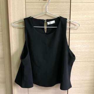 黑色雪紡無袖 短版背心