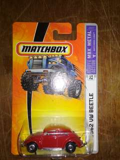 Matchbox mbx Vw beetle 1962 red us card