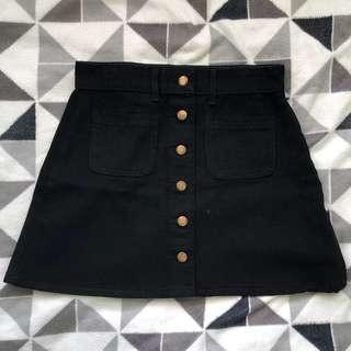 Black button down A line skirt