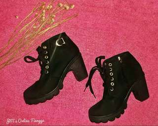 Black Semi High Cut Boots