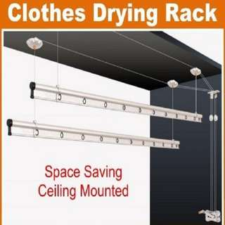 CEILING MOUNTED LIFTING HANGER CLOTHES RACK 240CM ( 10-347-01)
