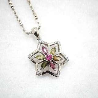 Genuine high grade tourmaline star flower shape pendant