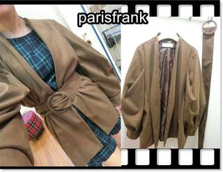 🚚 parisfrank~~品牌La Mocha 正韓 綁腰附腰帶 特殊手袖 焦糖咖啡色 毛料外套