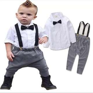 春秋爆款歐美男童吊帶褲兒童三件童套裝,尺碼100,純棉,全新一件現貨