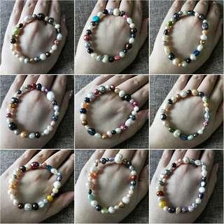 天然淡水珍珠混色手鏈