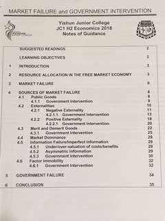H2 Econs Market Failure Notes and practice paper