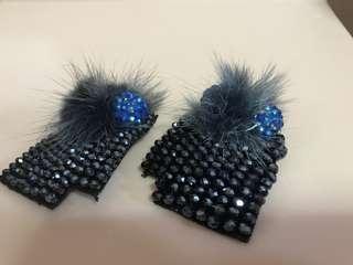 Swarovski blue crystal shoe clips